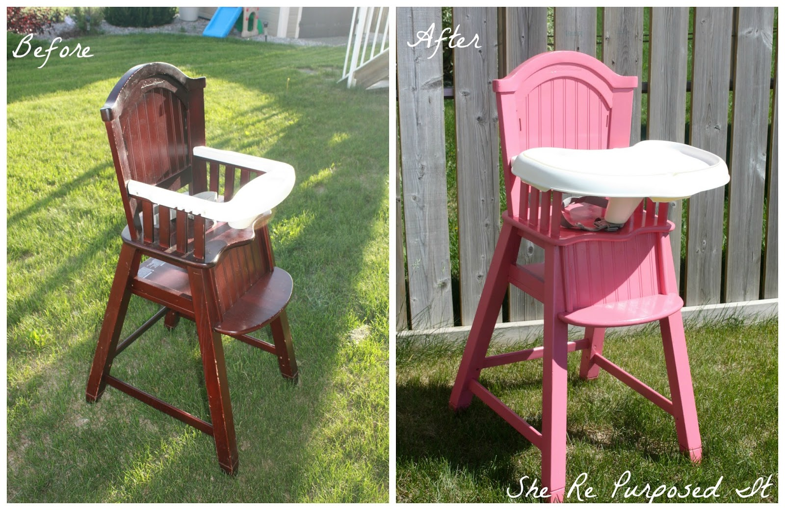 Painted wood high chair - Painted Wooden High Chair Pink Highchair
