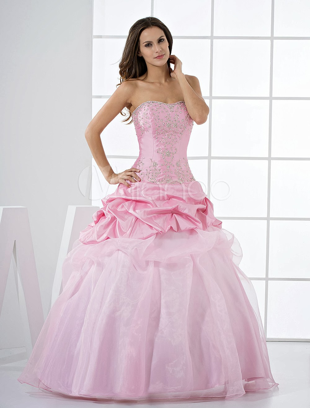 China Wholesale Dresses - Pink Princess Strapless Beaded Ruffles Floor Length Taffeta Ball Gown