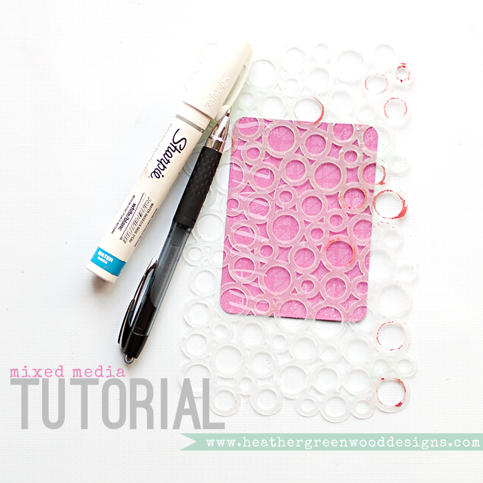 Heather Greenwood Designs | Mixed Media Tutorial using stencils paint and doodle pens | #mixedmedia #projectlife