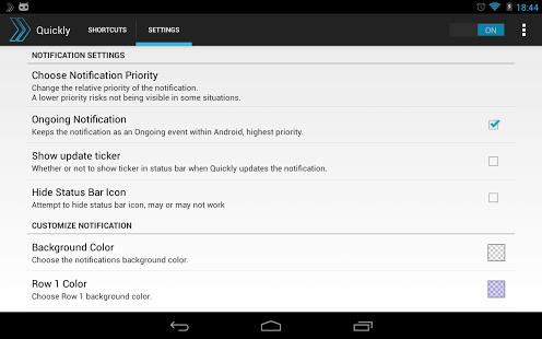 Quickly Notification Shortcuts app screenshoot