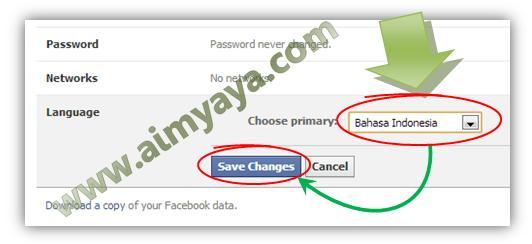 Gambar: Mengganti bahasa utama facebook menjadi bahasa Indonesia