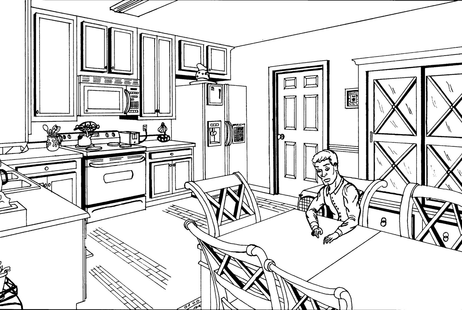 Wonderful 26 2 Point Perspective Interior Kitchen Picture Part 52