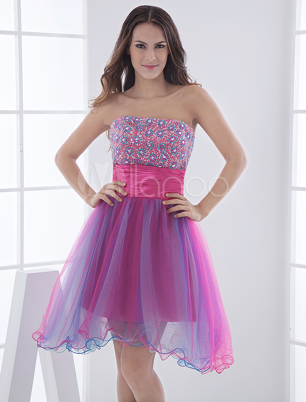 China Wholesale Clothes - Mini Length A-line Strapless Beading Elastic Woven Satin Net Homecoming Dress