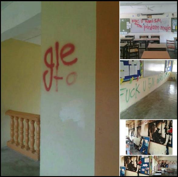 Apa nak Jadi Pelajar Sekolah conteng dan bakar bilik darjah 6 Gambar