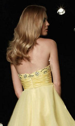 Mini short yellow strapless bridesmaid dress