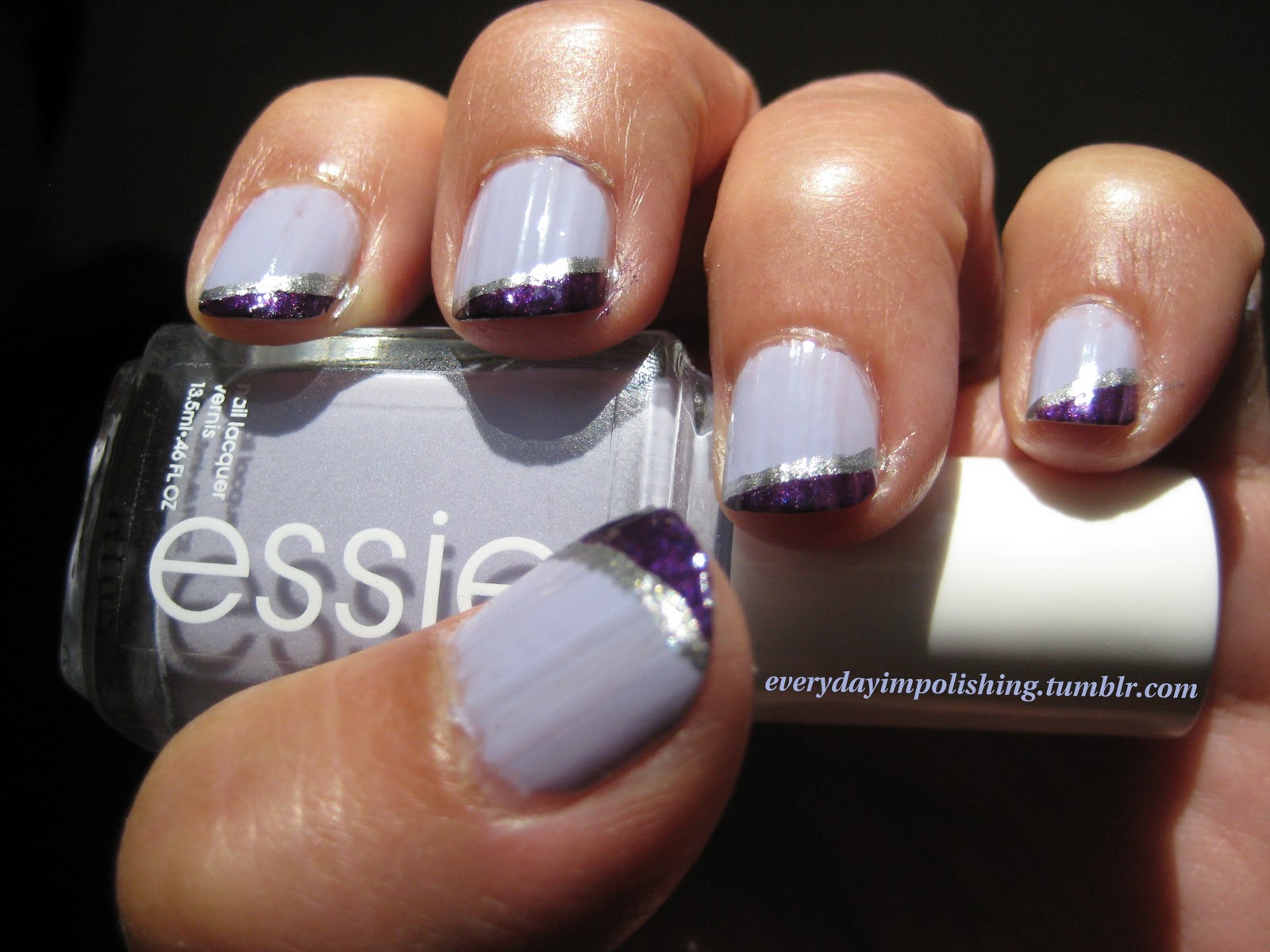 Nails On Lilac With Purple Tips