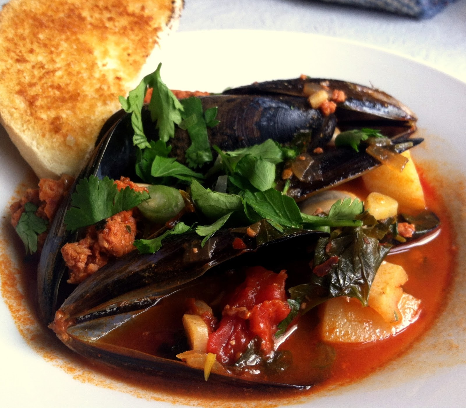 ... of Little Pleasures: Mussels with Chorizo, Tomato, and Potato Stew