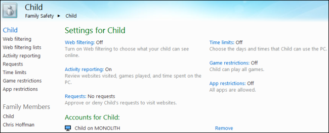 Giám sát và kiểm soát việc sử dụng máy tính của trẻ em trên Windows 8 M24
