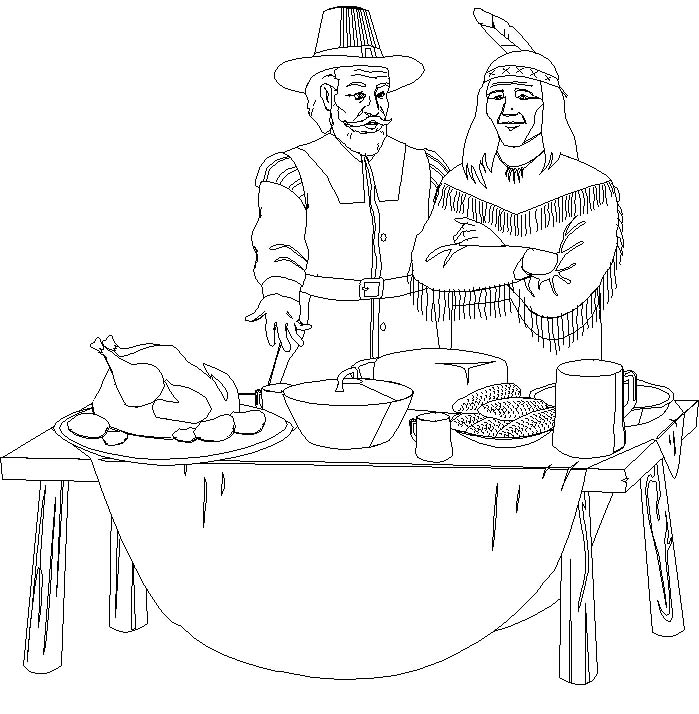 Thanksgiving Feast Coloring Pages