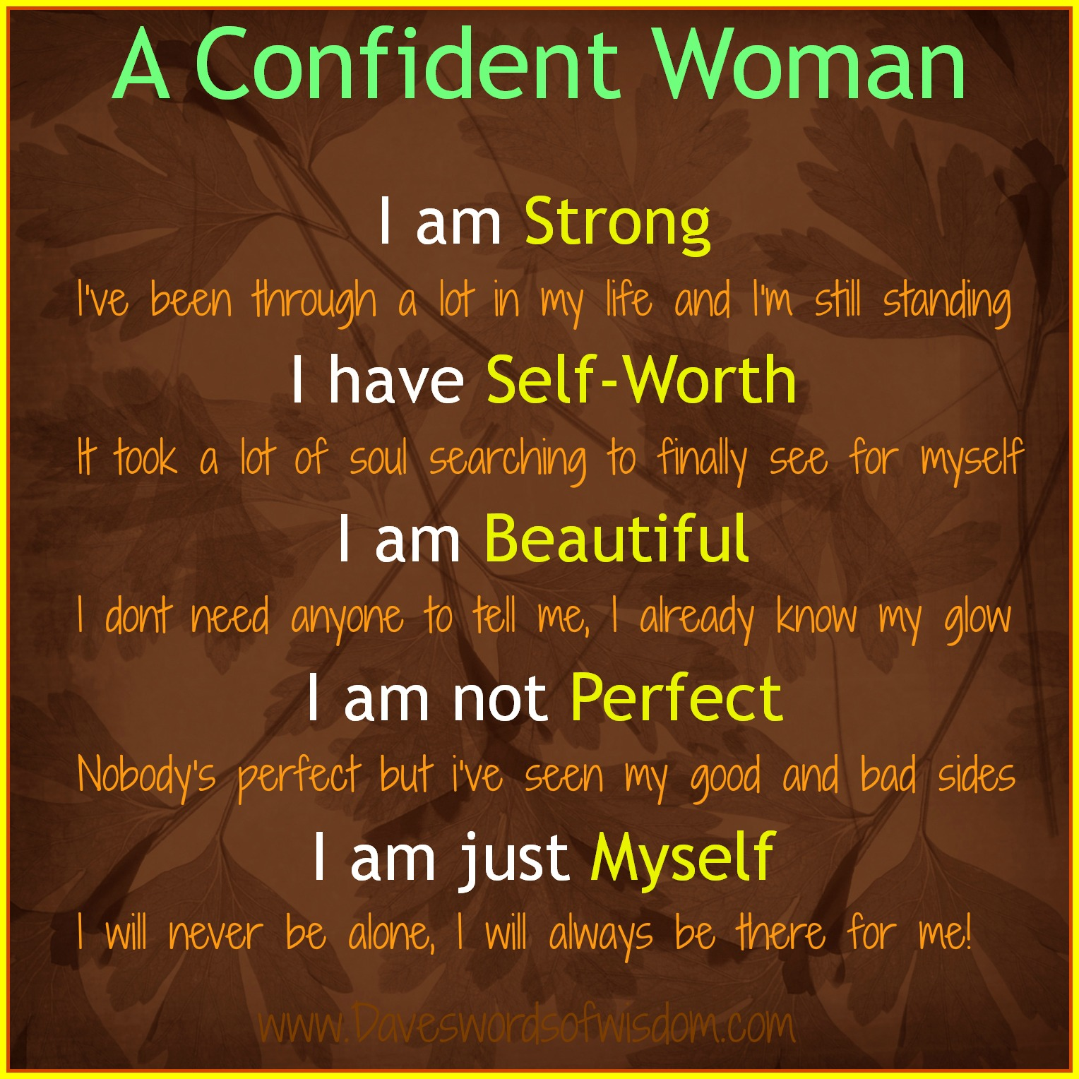 Daveswordsofwisdom.com: A Confident Woman Confidence Quotes For Women