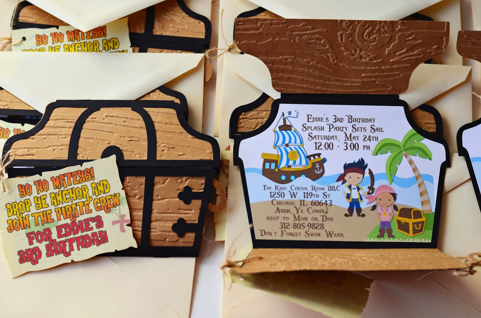 handmade pirate chest invitations