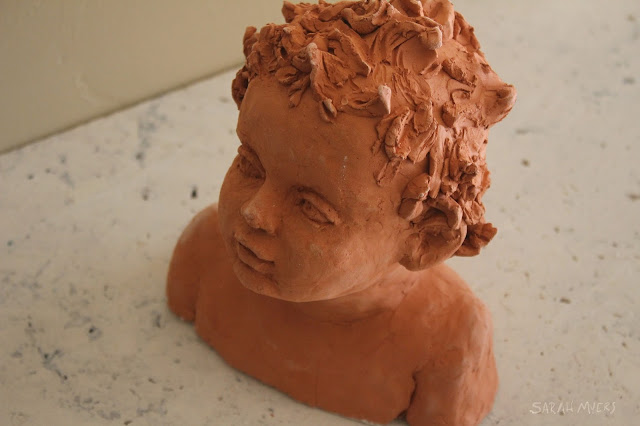 child, baby, sculpture, art, sarah myers, sarah, myers, head, infant, portrait, escultura, ceramica, arte, niño, earthenware, ceramic, terracotta, amy myers, eyes, glance, face, small, young, realistic, figurative, classic, classical, human, endearing, beautiful, darling, expectant, new, work, artwork, bust, red, upward, artist, mother, above, close-up, detail