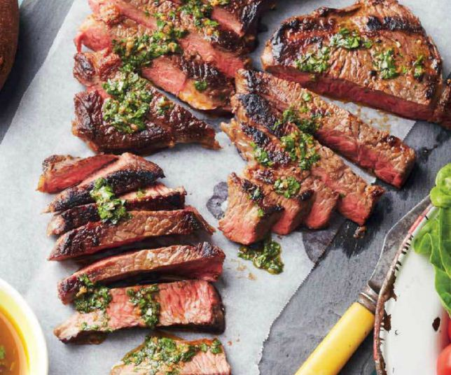 Barbecued Rump Steak with Chimichurri Sauce