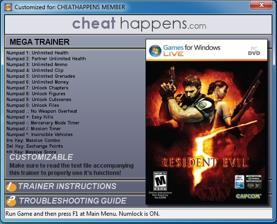 Resident Evil 6 GAME TRAINER 14 Trainer - Free download