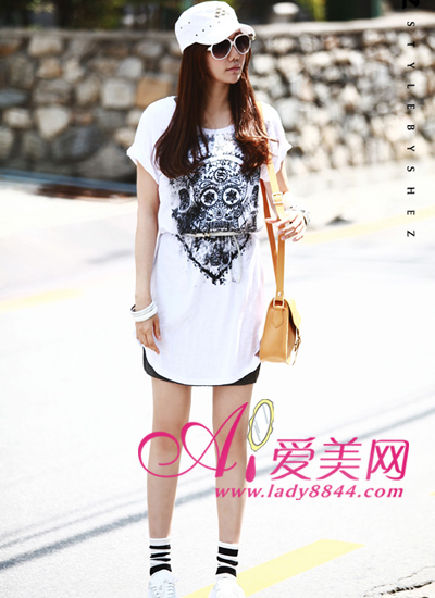 Long T-shirt with the black skirt from cheap karen millen dress, ...