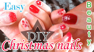 red nails with christmas nail art design