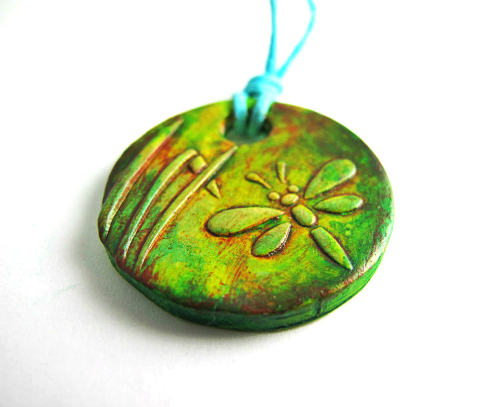 polymer clay dragonfly pendant necklace over the summer i made polymer ...