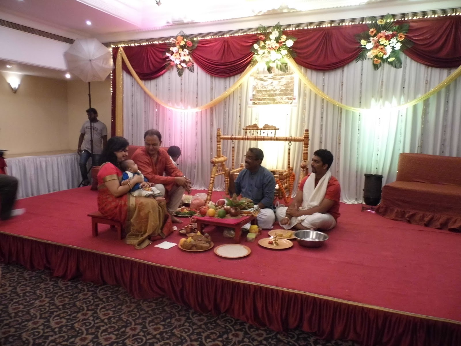 Food at a baarsa a maharashtrian naming ceremony for Baby name ceremony decoration
