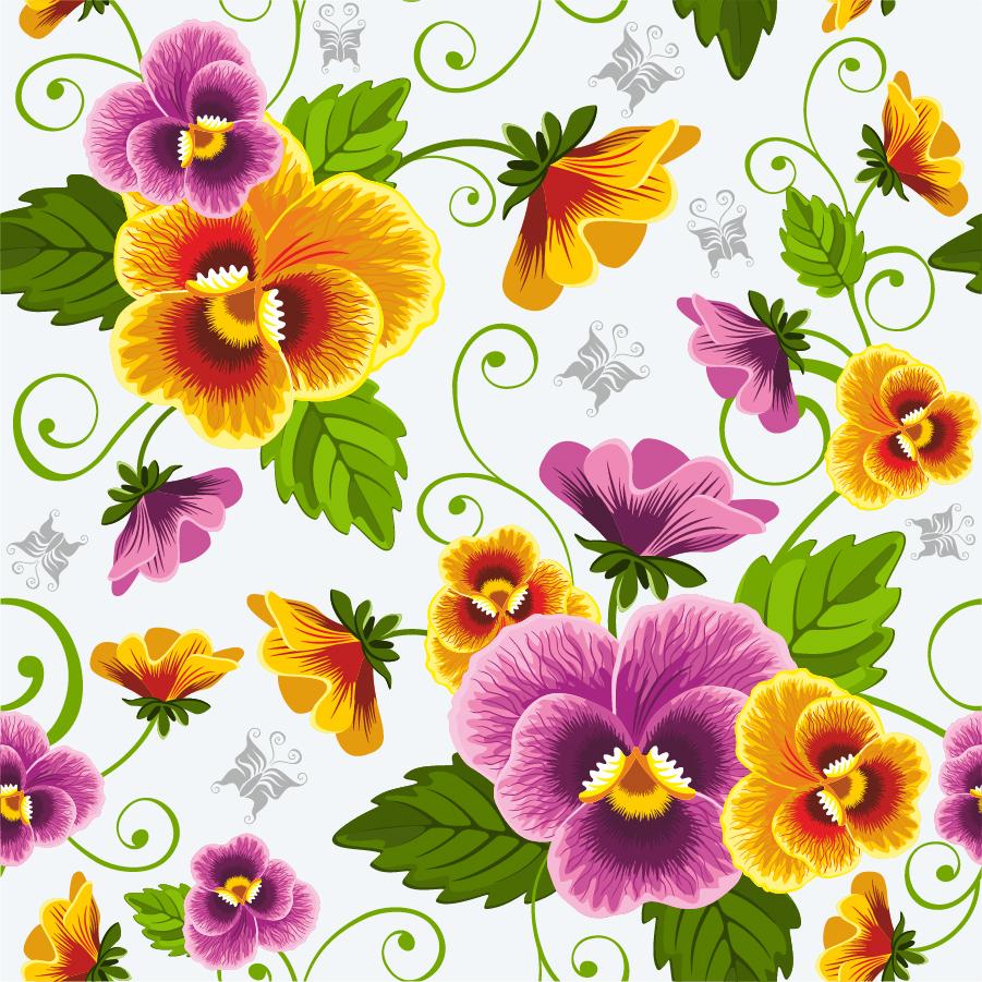 シームレスな美しい花ビラの背景 beautiful flowers vector background イラスト素材