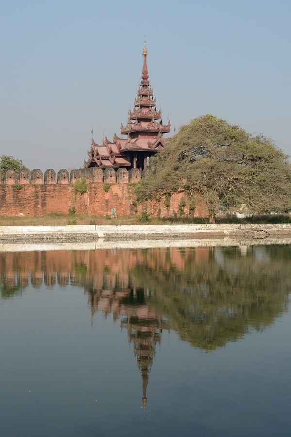 Tower, wall and moat at the Royal Palace in Mandalay, Myanmar
