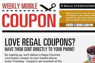 Shopping Tips for Regal Cinemas: 1. If you're 54 or older, any purchase at Regal Cinemas is eligible for 30% off. 2. Regal Crown Club members earn credit for every purchase at Regal Cinemas.