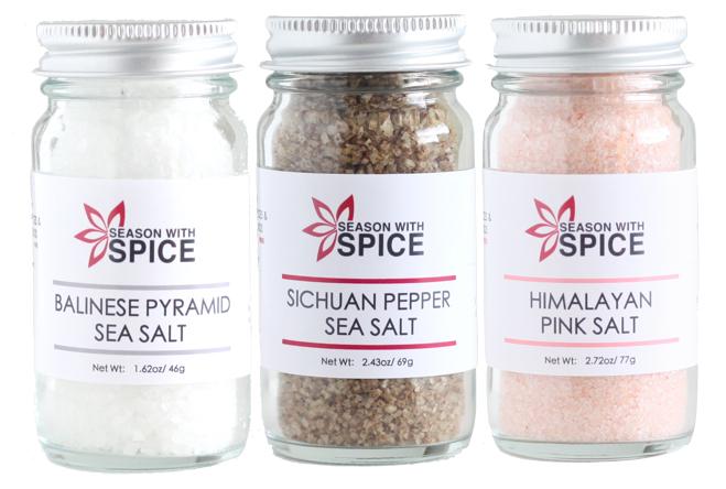 Sichuan Pepper Sea Salt, Balinese Pyramid Sea Salt & Himalayan Pink Salt available at SeasonWithSpice.com