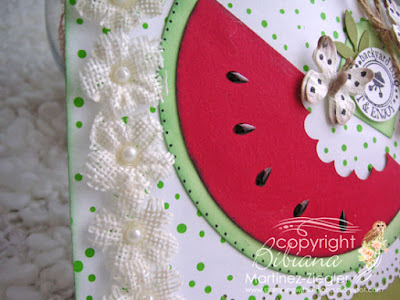 watermelon card embellished with burlap flowers
