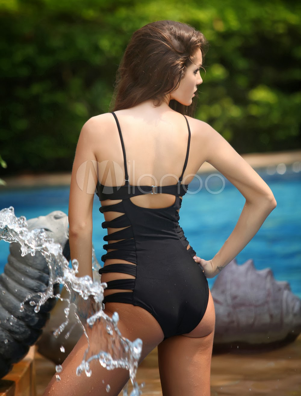China Wholesale Clothes - Attractive Black Nylon Cut Out Monokini Swimwear
