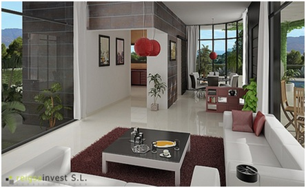 3D HOME PLANS - ONE STORY HOUSE PLAN - INTERIOR