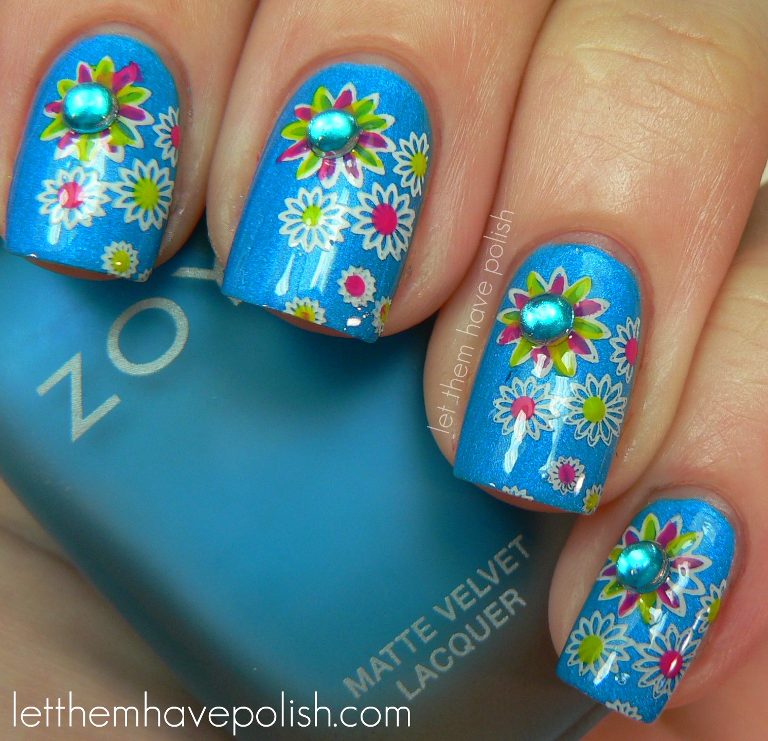 Flower Nails: Let Them Have Polish!: 31 Day Challenge! Day 14- Flower Nails