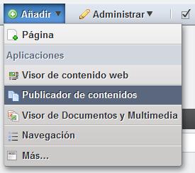 Liferay, publicador de contenidos, añadir