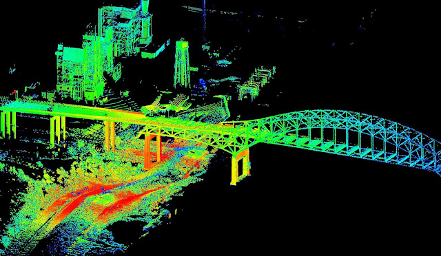 3-D lidar scan of the Interstate 510 bridge in New Orleans, La