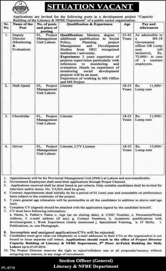 Director, Driver and Class Four Jobs in Capacity Building of Literacy and NFBE Department, Lahore