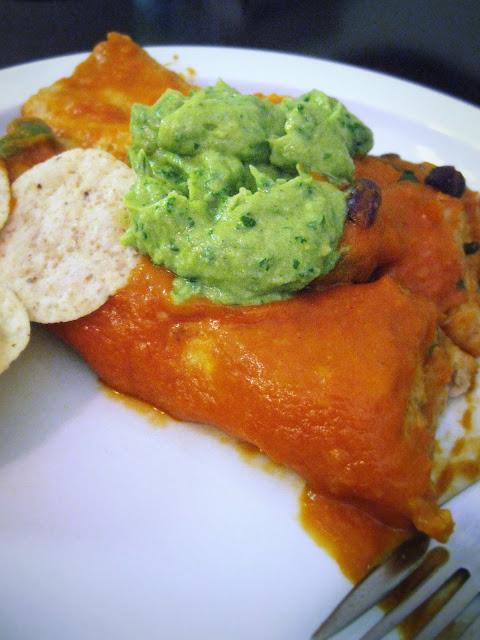 vegan enchiladas with cilantro avocado cream sauce}