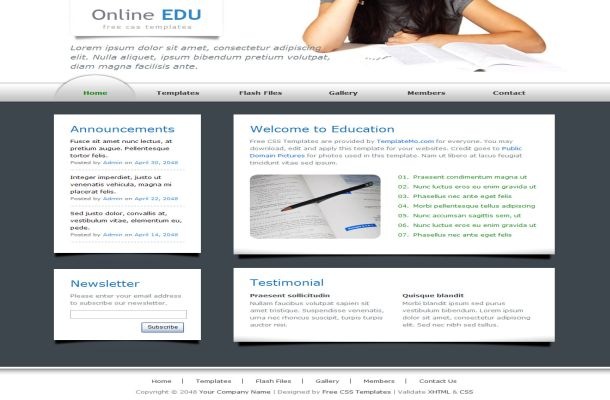 Free CSS Education Blue HTML Website Template