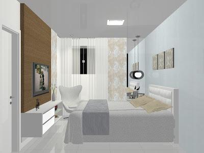 cores suaves e móveis planejados para quarto de casal