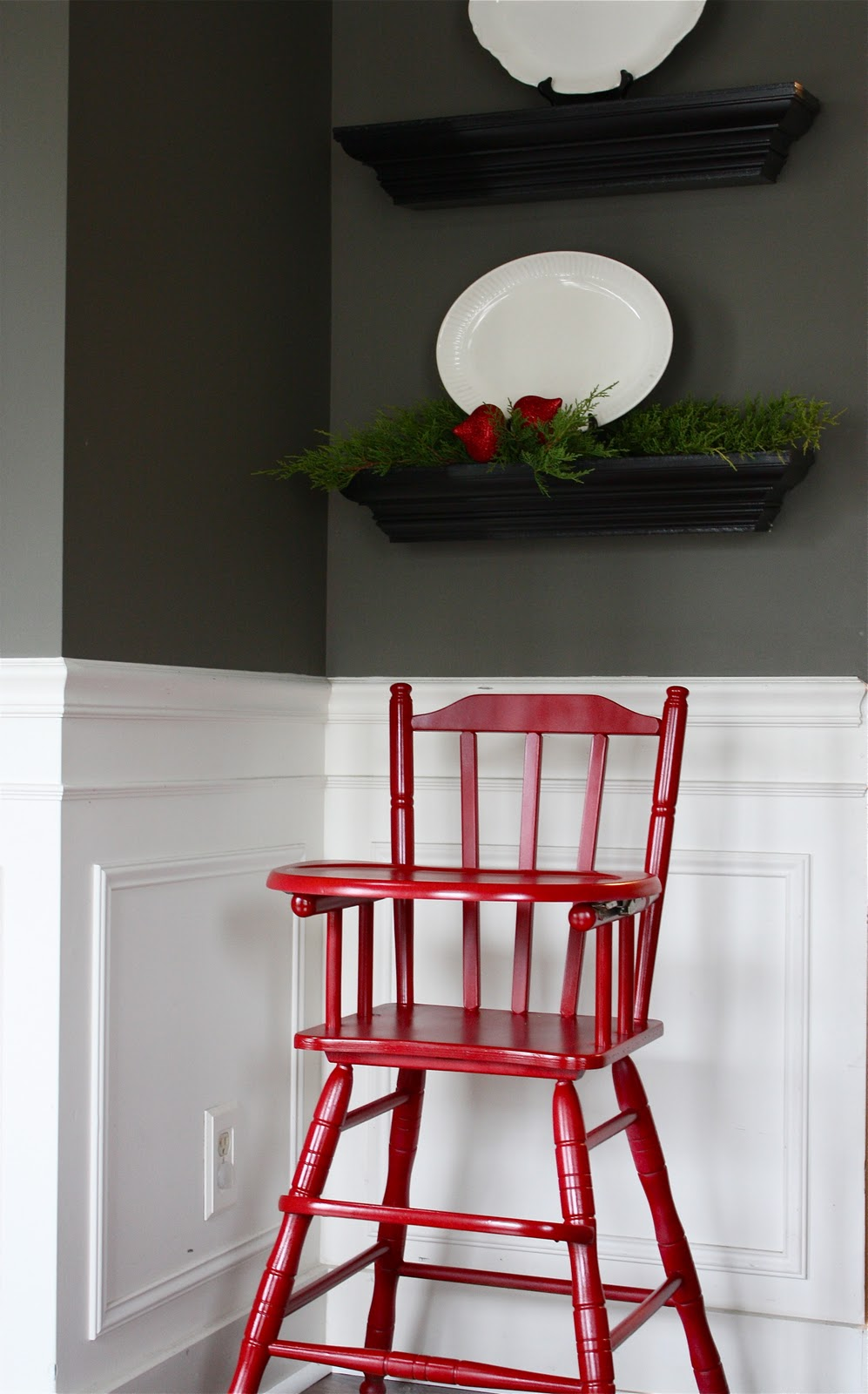 Painted Wood High Chair -