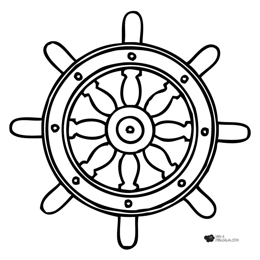 Timon de barco para pintar y colorear | Dibujos para Colorear Gratis