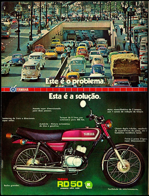 propaganda moto Yamaha RD 50 - 1976.  brazilian advertising cars in the 70. os anos 70. história da década de 70; Brazil in the 70s; propaganda carros anos 70; Oswaldo Hernandez;