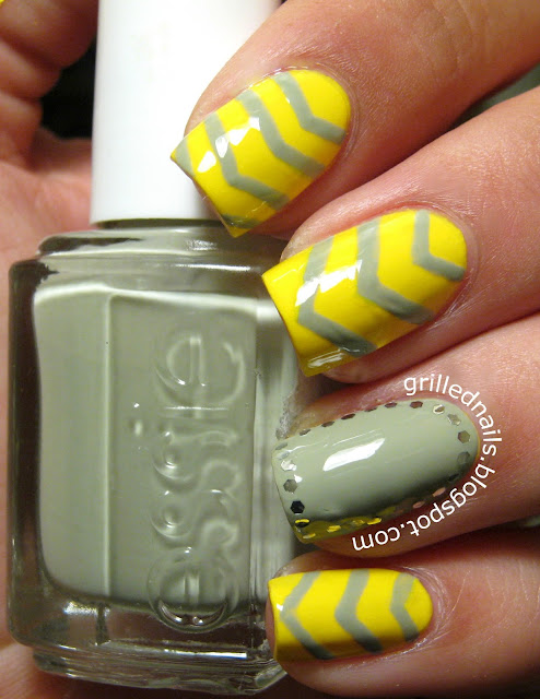 grilled nails sandwich hector alfaro green yellow chevron manicure glitter