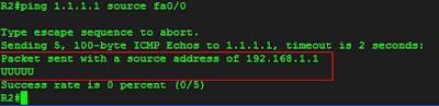 Hasil ping dari router R2