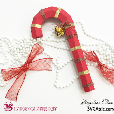 SVG Attic: Christmas candy cane with Angeline #svgattic #scrappyscrappy #christmas #santasrepose #candycane #ornament #svg #cutfile #diecut #twine #trendytwine #glitter #gold