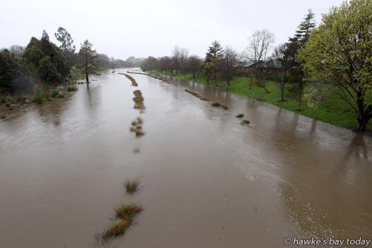 Flooded Karamu Stream and Rotary Pathway, near Havelock Rd, Havelock North. photograph