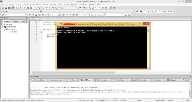 Output screen of Code::Blocks