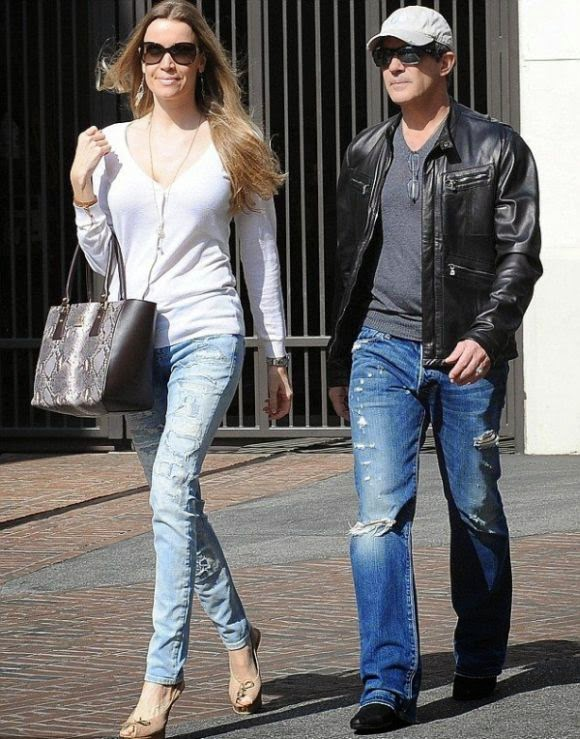 The actor, Antonio Banderas just made the most of warm wather in a jeans, plus the lady too as they ran for some errands on shopping trip at Los Angeles on Thursday, February 19, 2015.