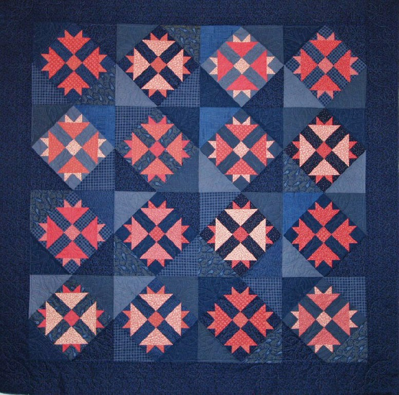 Cheryl Vastola's Pink and Navy 1890's Reproduction Quilt