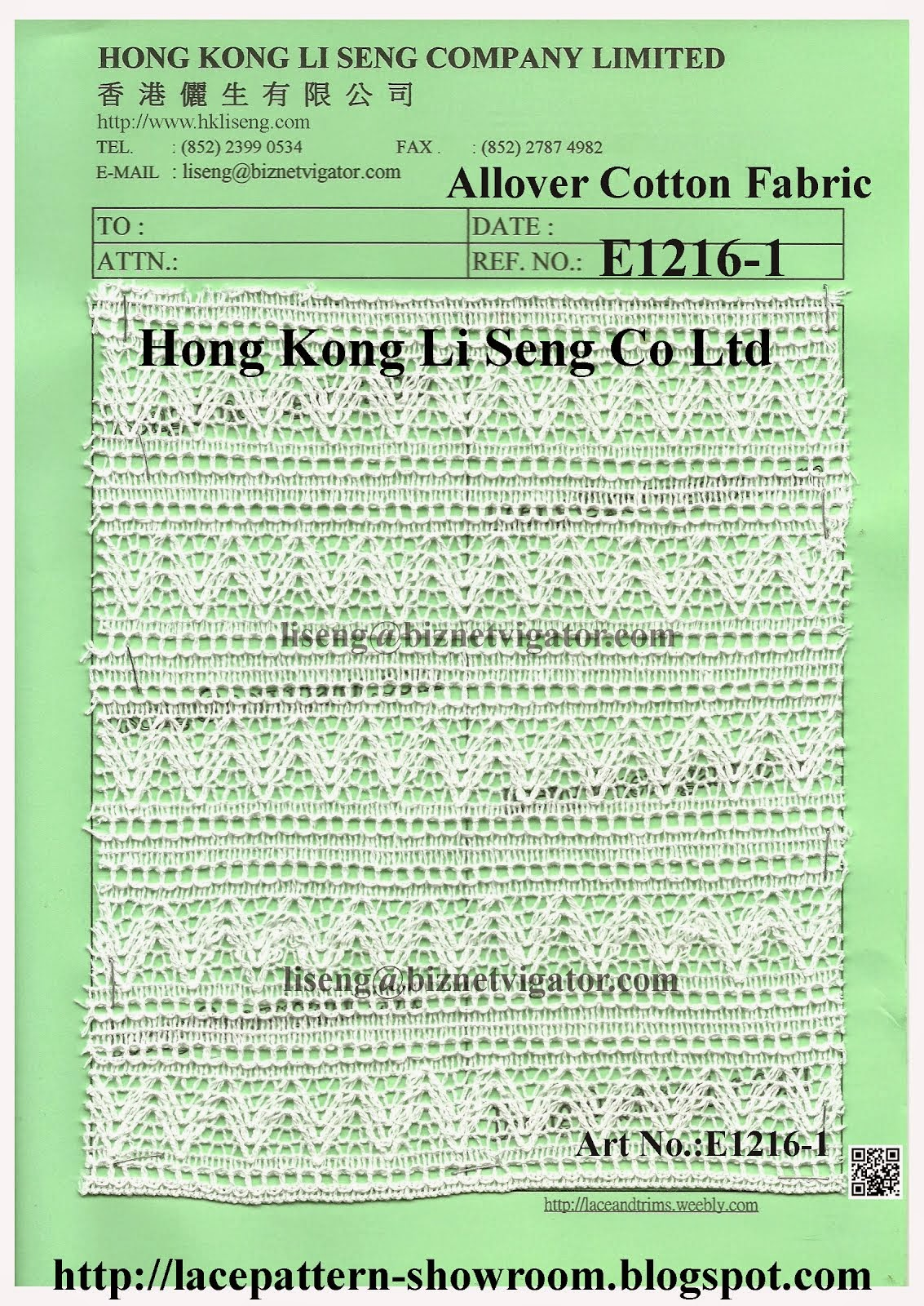 Allover Cotton Fabric Manufacturer Wholesale and Supplier - Hong Kong Li Seng Co Ltd
