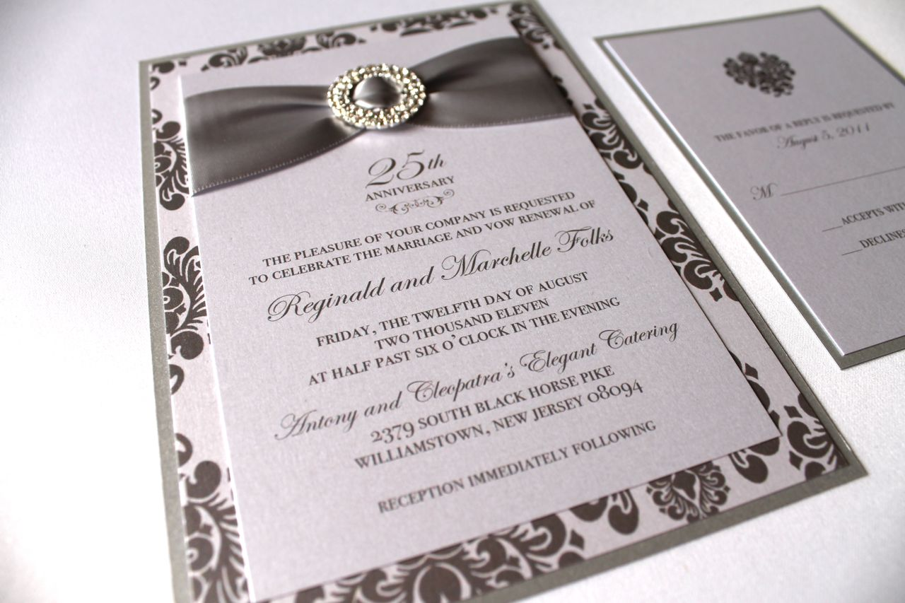 Embellished Paperie 25th Anniversary Invitations Silver And White Damask