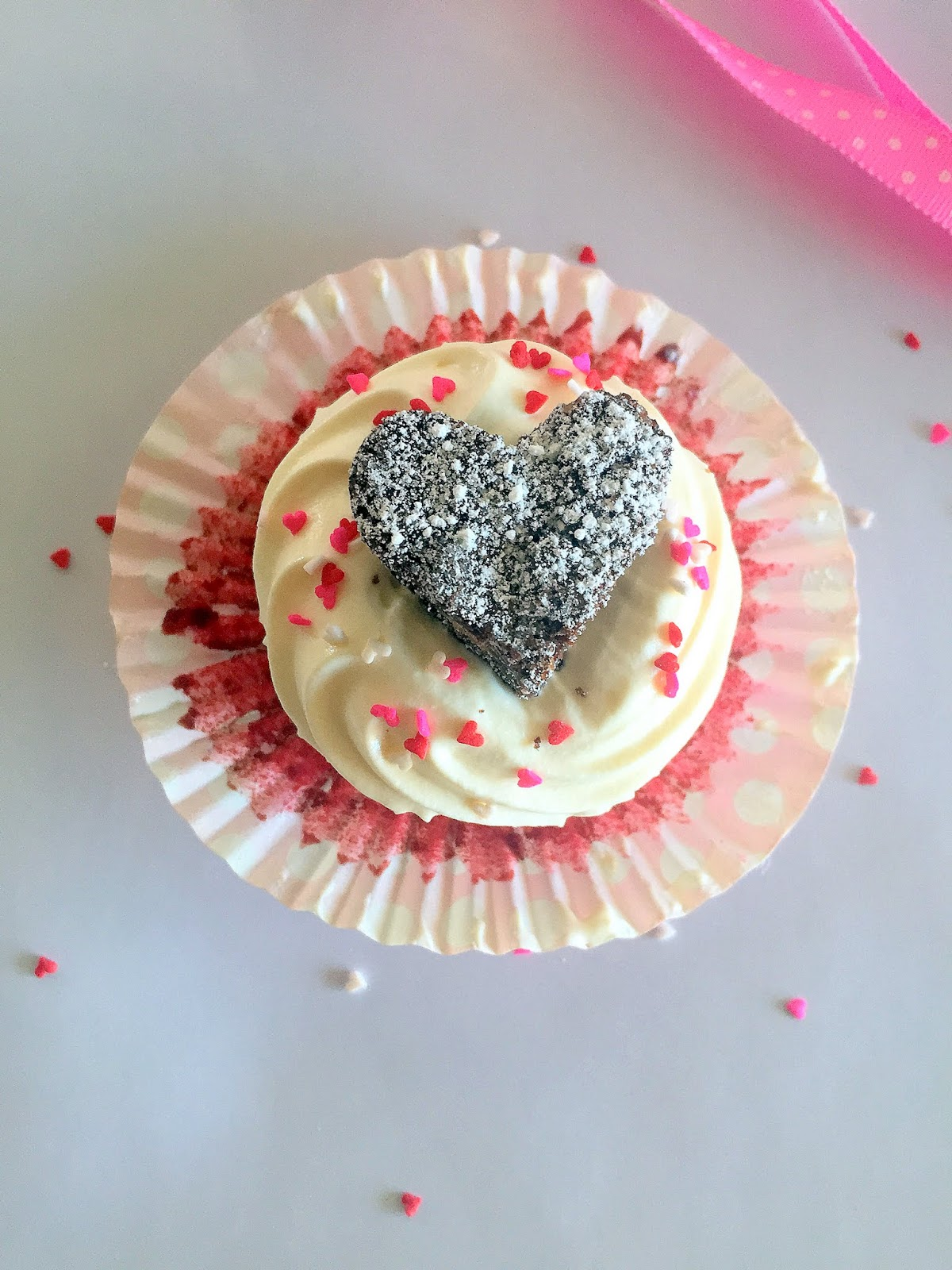 Cassie Cakes Red Velvet Cupcakes with Triple Choc Brownie Hearts