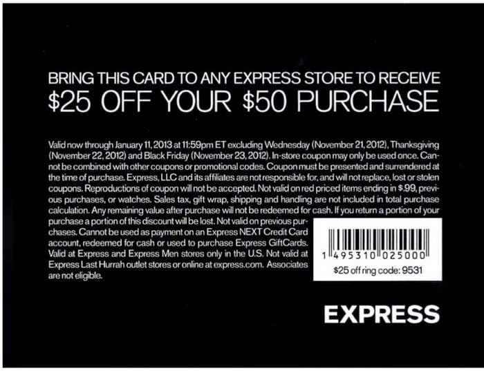 Express coupons codes